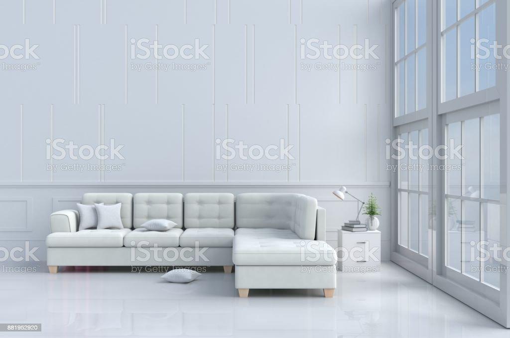 Weiße Wohnzimmer Dekoriert Mit Baum In Glasvase, Kissen, Weißen Sofa,  Fenster, Himmel