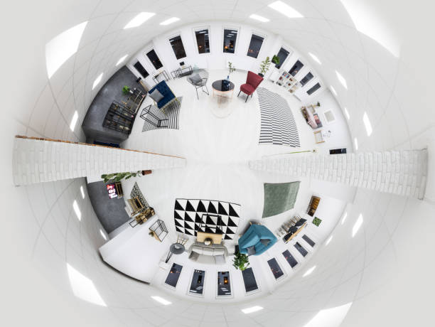 White living room interior White living room interior with patterned carpets and brick wall fish eye lens stock pictures, royalty-free photos & images