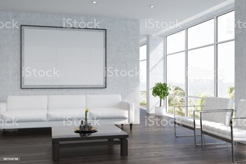 White living room interior with a poster stock photo