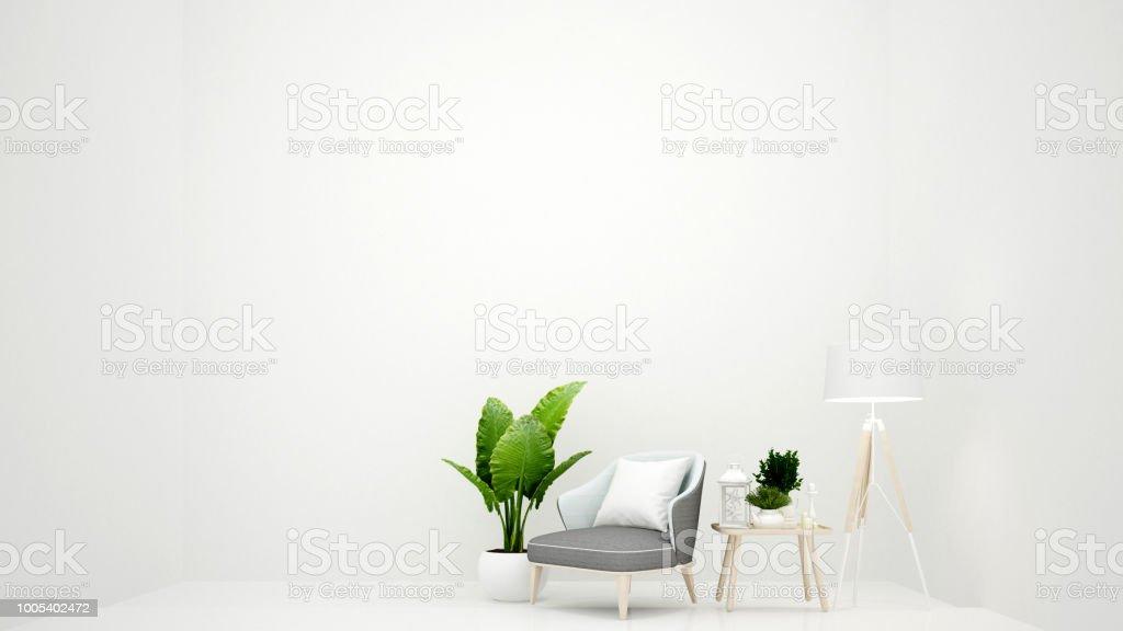 Wit woonkamer minimalistische stijl hout stoel met staande lamp en
