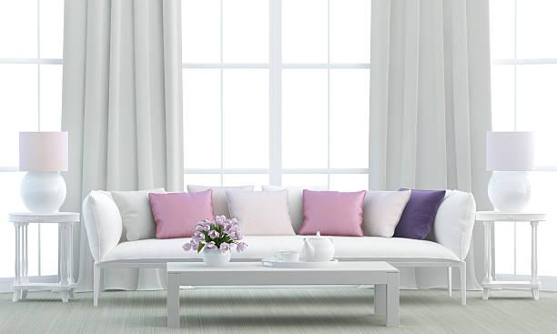 weiß wohnzimmer - gardinen weiß stock-fotos und bilder