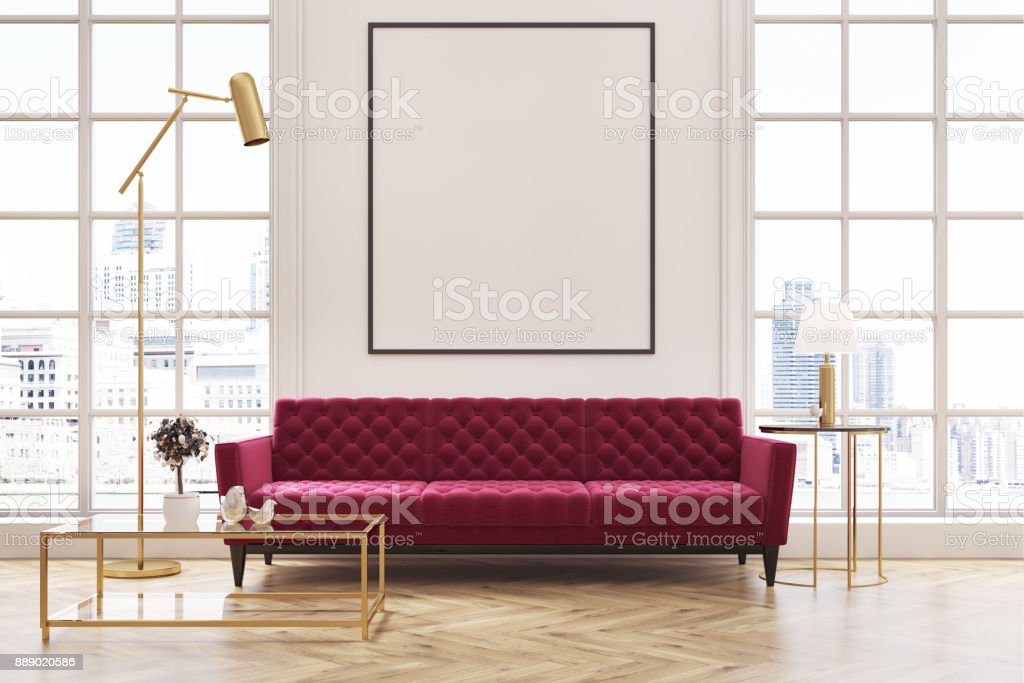 White Living Room Red Sofa Poster Stock Photo Download