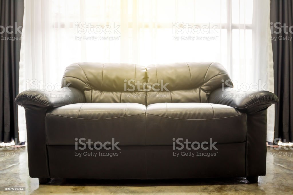 White Living Room With Black Sofa In Front Of Window In The Morning Stock  Photo - Download Image Now
