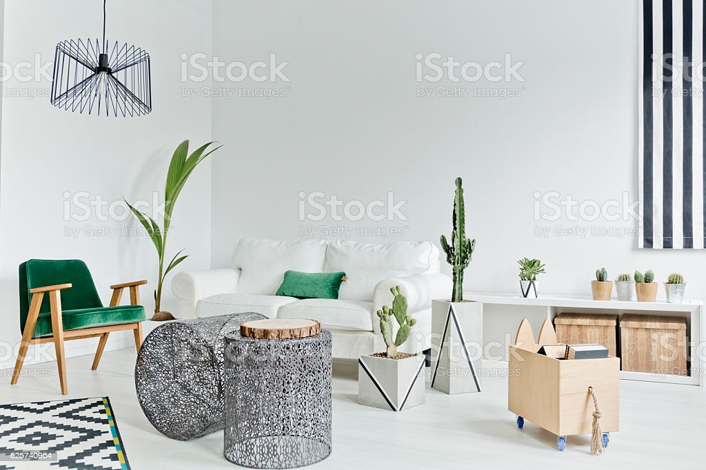 White living room with couch stock photo