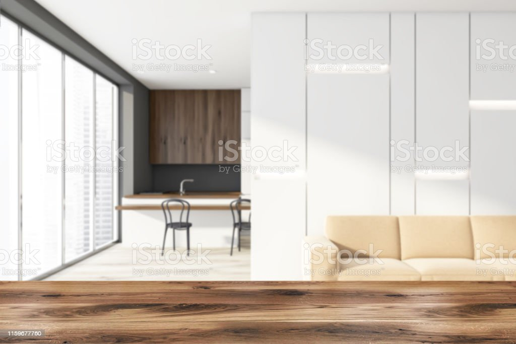 White Living Room With Kitchen Bar Blur Stock Photo Download Image Now Istock