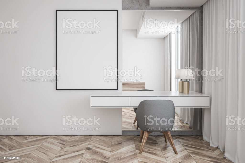 Interior of modern living room with white walls, wooden floor, makeup...