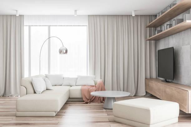 白いリビングルーム(ソファ、テレビ付) - ソファ 無人 ストックフォトと画像