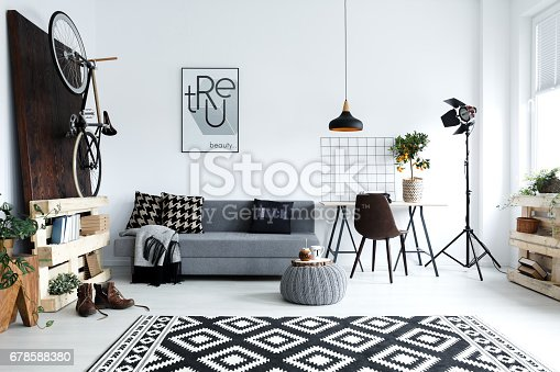 istock White living room with sofa 678588380