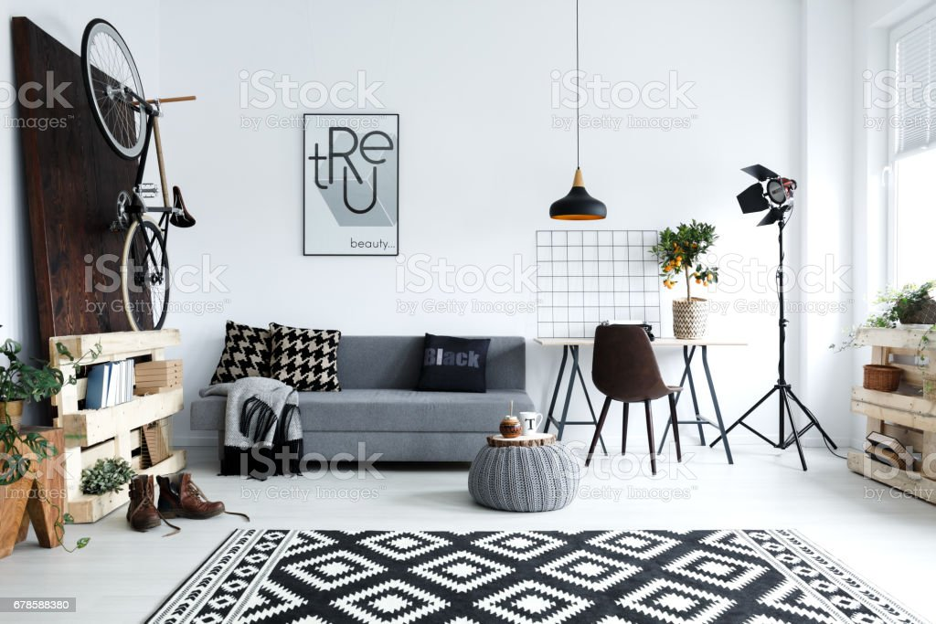 White living room with sofa stock photo