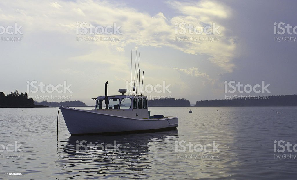 White Lobster Boat on a Maine Harbor royalty-free stock photo