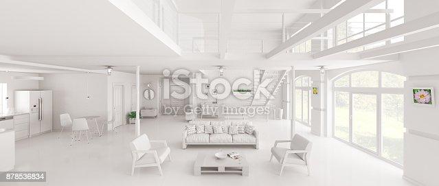 istock White loft interior panorama 3d rendering 878536834