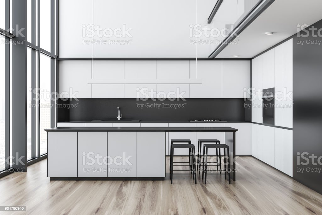 White loft kitchen interior royalty-free stock photo