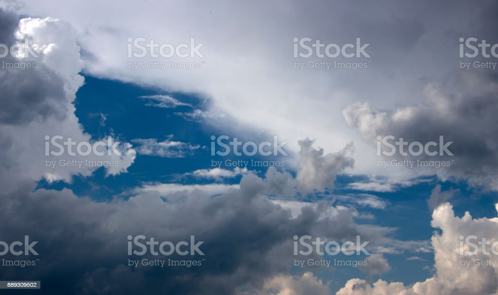 white lonely cloud in the background of the blue sky stock photo