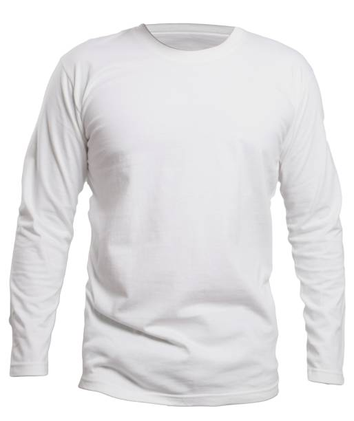 White Long Sleeve Shirt Mock up Blank long sleve shirt mock up template, front view, isolated on white, plain white t-shirt mockup. Long sleeved tee design presentation for print. long sleeved stock pictures, royalty-free photos & images
