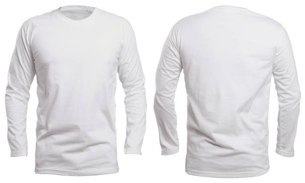 White Long Sleeve Shirt Mock up Blank long sleve shirt mock up template, front and back view, isolated on white, plain white t-shirt mockup. Long sleeved tee design presentation for print. long sleeved stock pictures, royalty-free photos & images