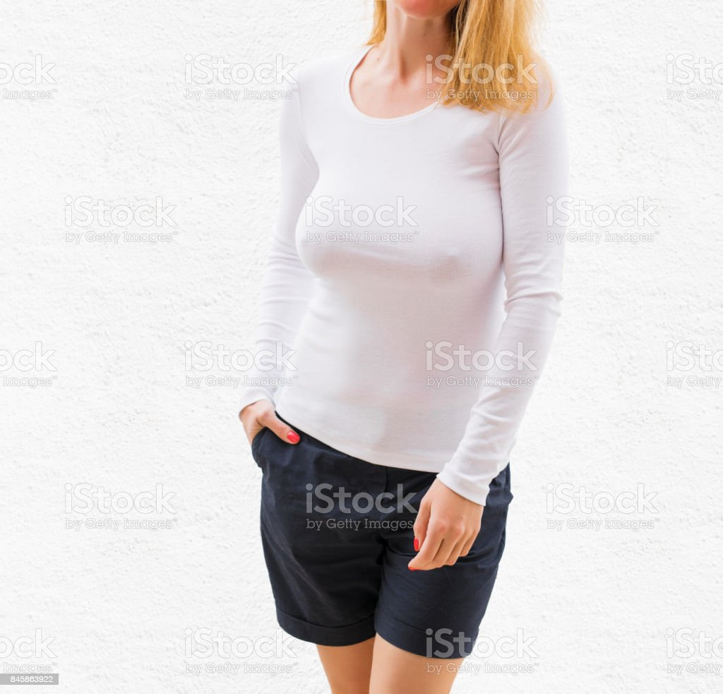 White long sleeve shirt template stock photo