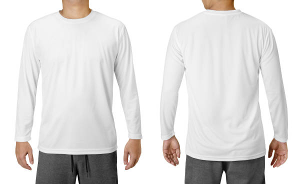 White Long Sleeved Shirt Design Template isolated on white White Long Sleeved Shirt Design Template isolated on white long sleeved stock pictures, royalty-free photos & images