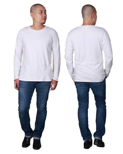 White Long Sleeved Shirt Design Template stock photo
