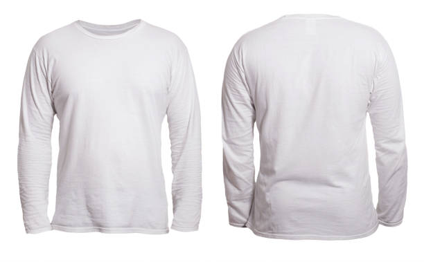 White Long Sleeved Shirt Design Template Blank long sleeved shirt mock up template, front and back view, isolated on white, plain t-shirt mockup. Tee sweater sweatshirt design presentation for print. long sleeved stock pictures, royalty-free photos & images