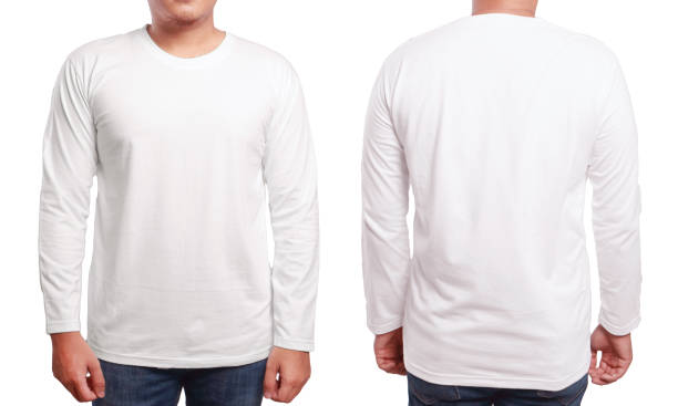 White Long Sleeved Shirt Design Template White long sleeved t-shirt mock up, front and back view, isolated. Male model wear plain white shirt mockup. Long sleeve shirt design template. Blank tees for print long sleeved stock pictures, royalty-free photos & images