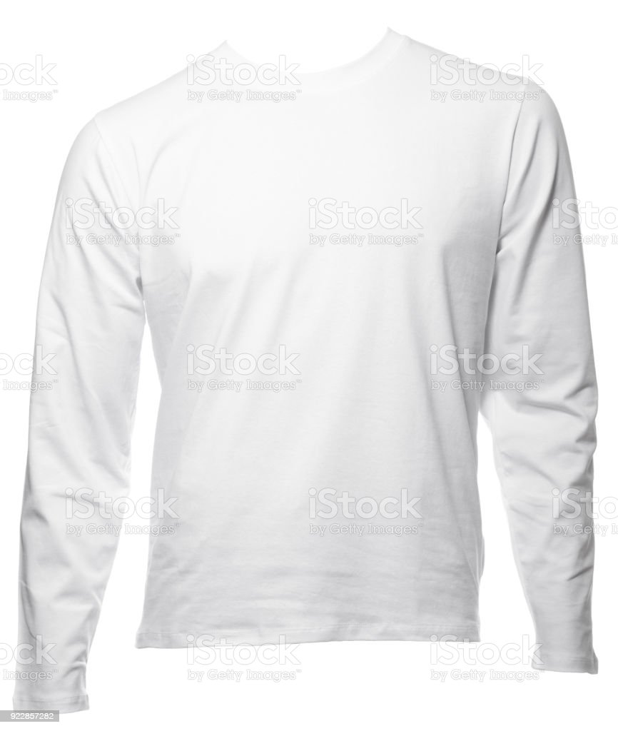 White Longsleeve Cotton Tshirt Template Isolated Stock