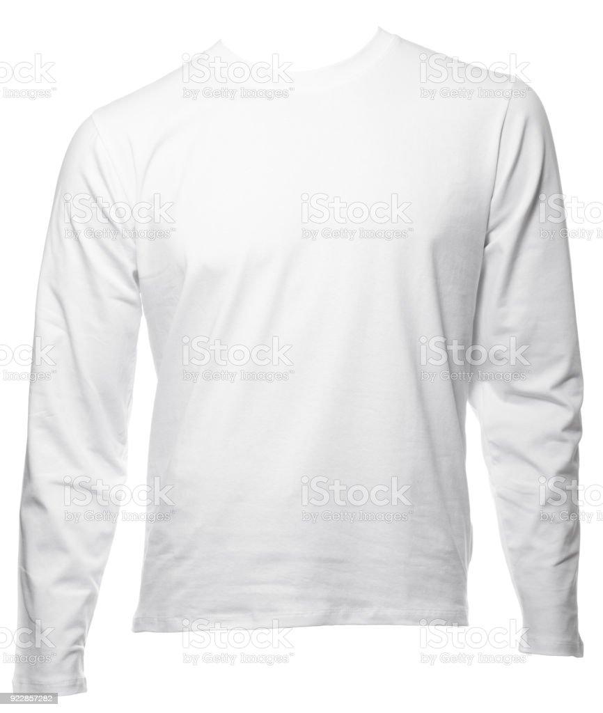 Weies Longsleeve Baumwolle Tshirt Vorlage Isoliert Stock Fotografie