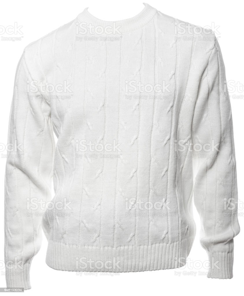 White longsleeve  jumper on a mannequin isolated stock photo
