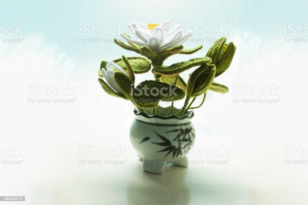 White lotus handmade on pot. royalty-free stock photo
