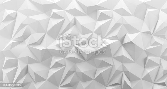istock White low poly background texture. 3d rendering. 1069888198