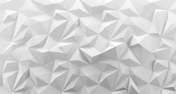 White low poly background texture. 3d rendering. White low poly rock background texture. 3d rendering. Crumpled paper two dimensional shape stock pictures, royalty-free photos & images