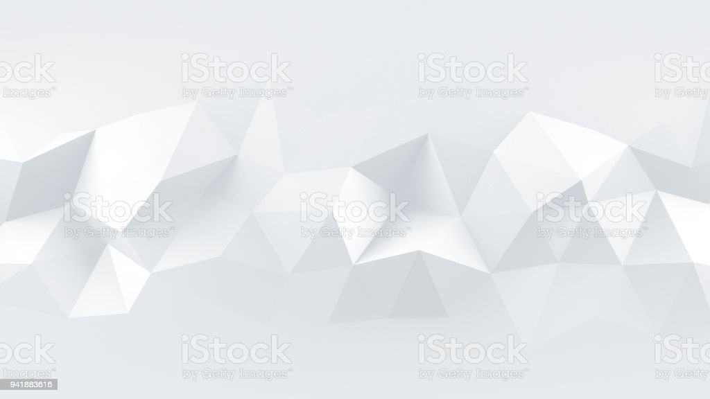 White low poly rumpled 3D surface abstract render