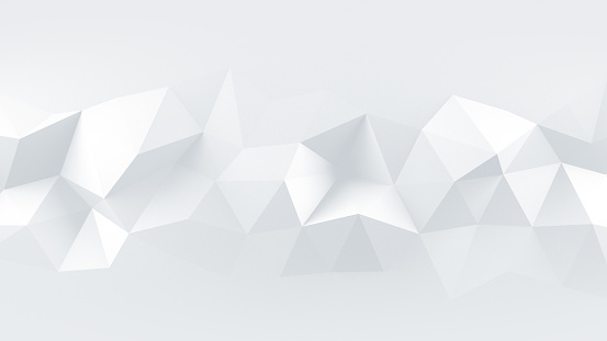 istock White low poly rumpled 3D surface abstract render 941883616