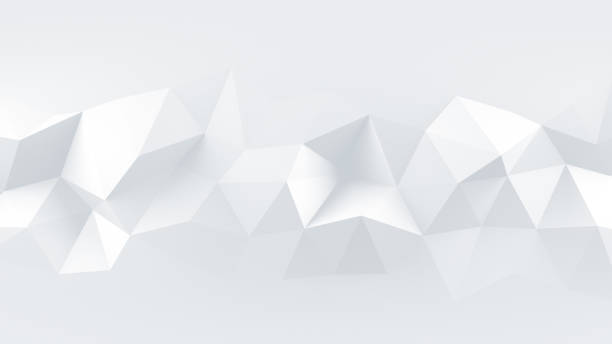 White low poly rumpled 3D surface abstract render White low poly rumpled triangular surface. Abstract 3D rendering two dimensional shape stock pictures, royalty-free photos & images