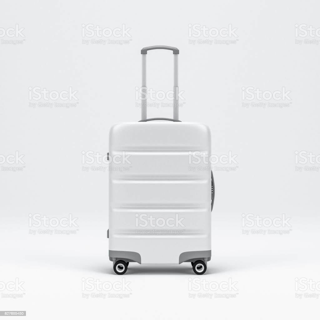 White Luggage mockup, Suitcase, baggage stock photo