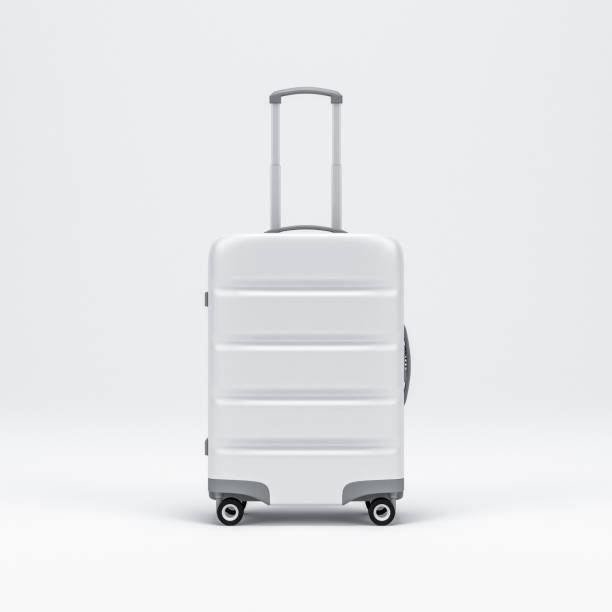 white luggage mockup, suitcase, baggage - luggage stock photos and pictures