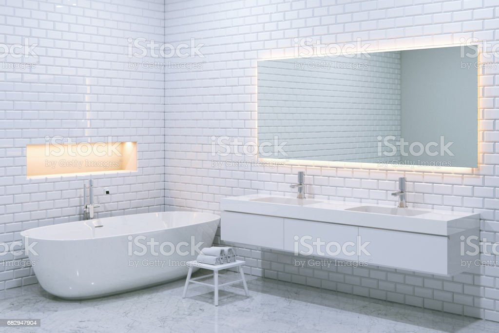 White luxury bathroom interior with brick walls. 3d render. royalty-free stock photo