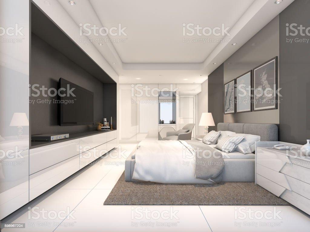 White Luxury Bedroom 3d Rendering Stock Photo Download Image Now Istock