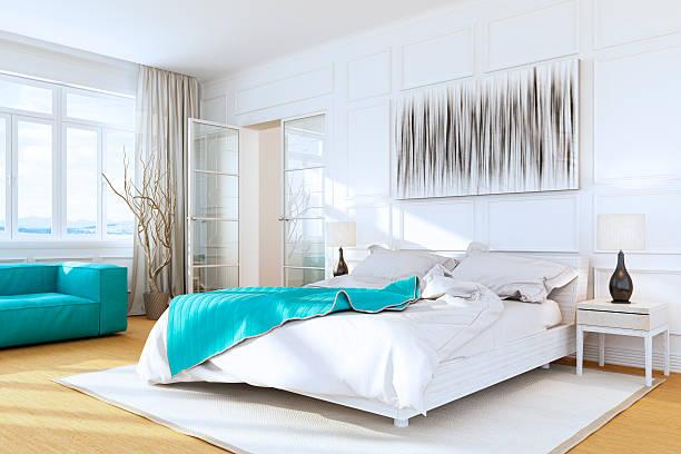 white luxus schlafzimmer interior - schick moderne schlafzimmer stock-fotos und bilder