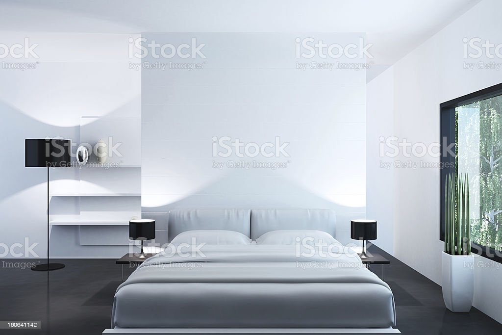White Luxury Bedroom stock photo