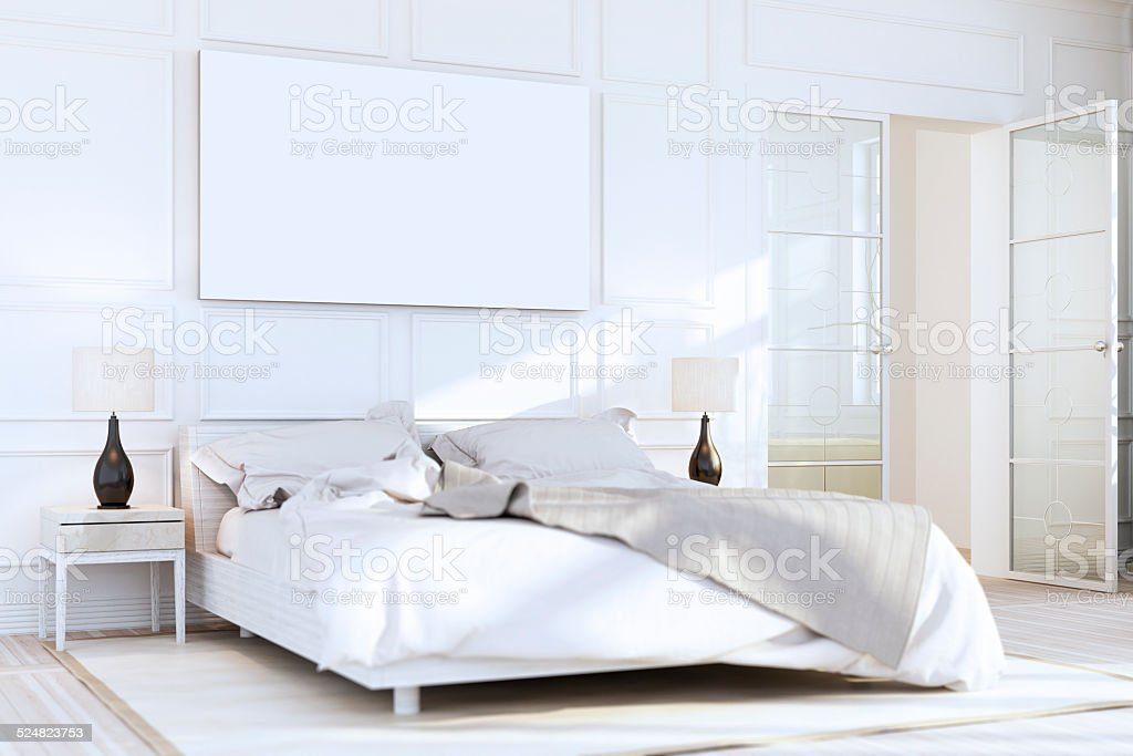 White Luxury Bedroom Wall Art stock photo