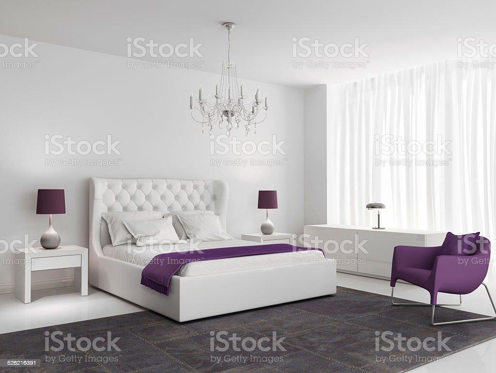 Camere Da Letto Viola : Camera da letto bianca lusso con poltrona viola fotografie stock e