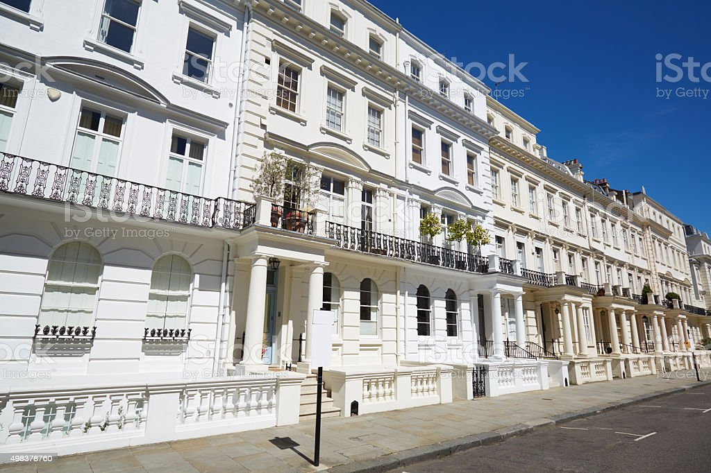 White luxury houses facades in London, Notting hill stock photo