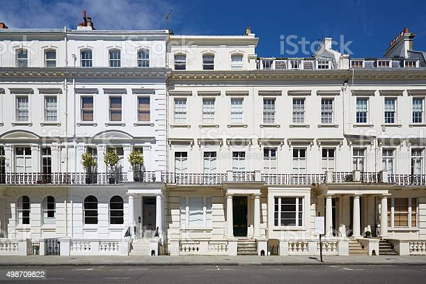 White Luxury Houses Facades In London Stock Photo - Download Image Now