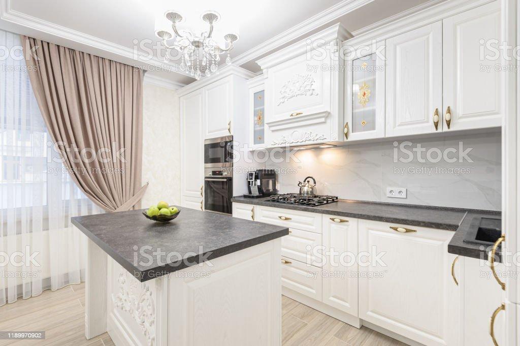 White Luxury Modern Kitchen With Island Stock Photo Download Image Now Istock
