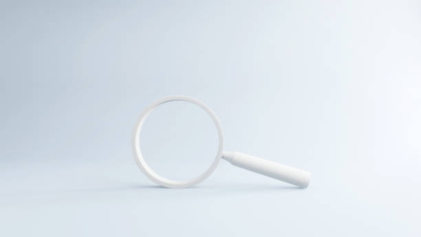 White magnifying glass on Blue Background, 3d render. stock photo