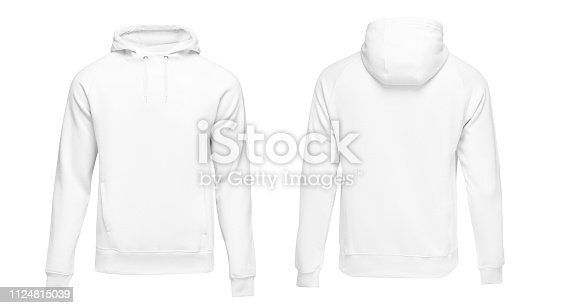 istock White male hoodie sweatshirt long sleeve with clipping path, mens hoody with hood for your design mockup for print, isolated on white background. Template sport clothes 1124815039