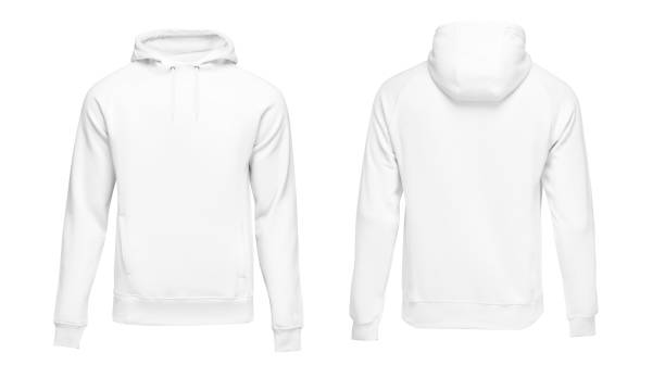 White male hoodie sweatshirt long sleeve with clipping path, mens hoody with hood for your design mockup for print, isolated on white background. Template sport clothes stock photo