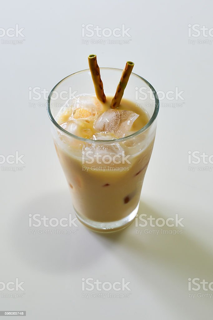 White Malt Milk with Macha Snack in the Glass royalty-free stock photo