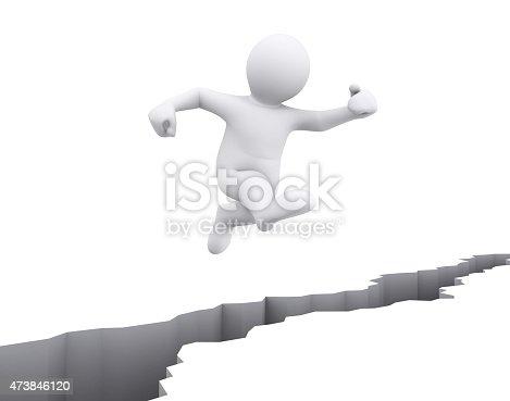 1197953545istockphoto White man jump over crack floor. 473846120