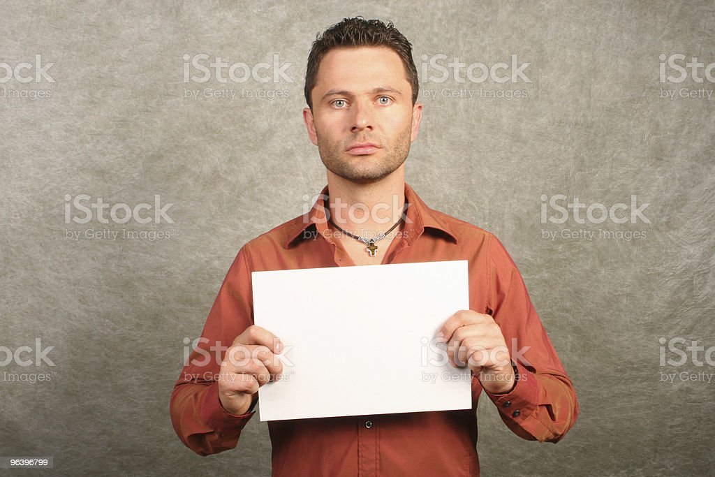 white man with card - space for copy, front, - Royalty-free Adult Stock Photo